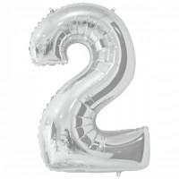 """Цифра фольгированная серебро """"2"""", 75 см"""