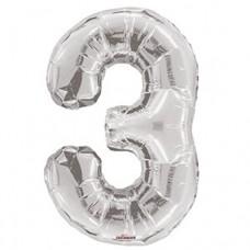 """Цифра фольгированная серебро """"3"""", 75 см"""