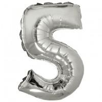 """Цифра фольгированная серебро """"5"""", 75 см"""