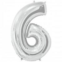 """Цифра фольгированная серебро """"6"""", 75 см"""