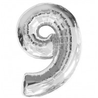 """Цифра фольгированная серебро """"9"""", 75 см"""
