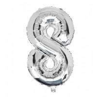 """Цифра фольгированная серебро """"8"""", 75 см"""