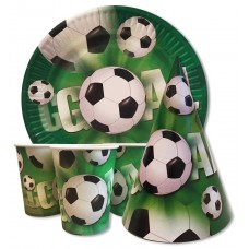 Набор Футбол: Тарелки-10шт, Стаканы-10шт, Колпачки-10шт.