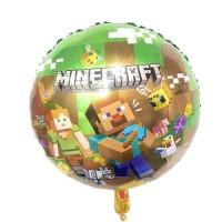 Фольгированный шарик -  Майнкрафт, круглый, 45см