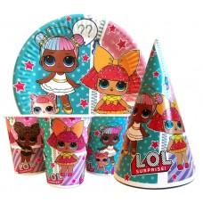Набор Куклы ЛОЛ (L.O.L): Тарелки-10шт, Стаканы-10шт, Колпачки-10шт.