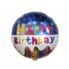Фольгированный шарик Happy Birthday, круглый, 45см