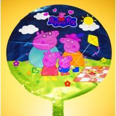 Фольгированный шарик Свинка Пеппа, круглый, 45см