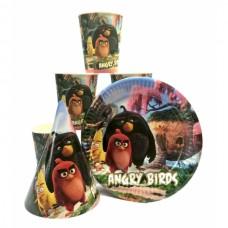Набор Angry Birds: Тарелки-10шт, Стаканы-10шт, Колпачки-10шт.