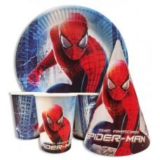 Набор Человек паук: Тарелки-10шт, Стаканы-10шт, Колпачки-10шт.