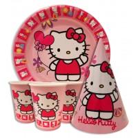 Набор Hello Kitty: Тарелки-10шт, Стаканы-10шт, Колпачки-10шт.
