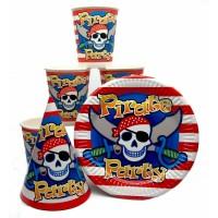 Набор Пираты: Тарелки-10шт, Стаканы-10шт, Колпачки-10шт.