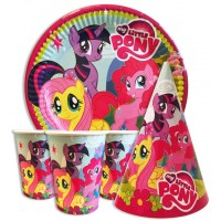 Набор Little Pony: Тарелки-10шт, Стаканы-10шт, Колпачки-10шт.