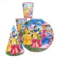 Набор Принцессы: Тарелки-10шт, Стаканы-10шт, Колпачки-10шт.