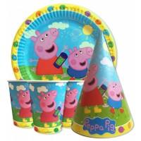 Набор Свинка Пеппа голубой: Тарелки-10шт, Стаканы-10шт, Колпачки-10шт.