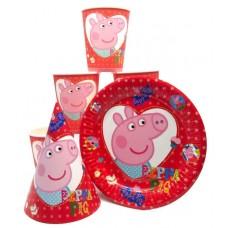 Набор Свинка Пеппа красный: Тарелки-10шт, Стаканы-10шт, Колпачки-10шт.