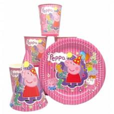 Набор Свинка Пеппа розовый: Тарелки-10шт, Стаканы-10шт, Колпачки-10шт.