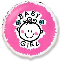 Шар фольга Baby Girl , 45см, круглый