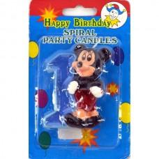 Свеча на торт цифра Микки Маус 1