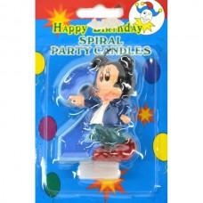 Свеча на торт цифра Микки Маус 2