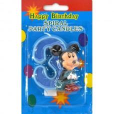 Свеча на торт цифра Микки Маус 3