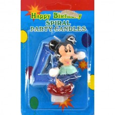 Свеча на торт цифра Микки Маус 4