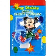 Свеча на торт цифра Микки Маус 5