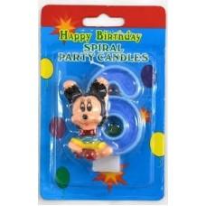 Свеча на торт цифра Микки Маус 6