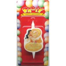 Свеча на торт цифра Принцессы 2