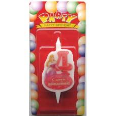 Свеча на торт цифра Принцессы 4