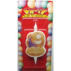Свеча на торт цифра Принцессы 9
