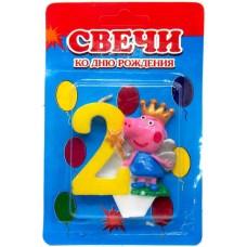 Свеча на торт цифра Свинка Пеппа 2
