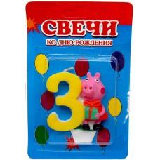 Свеча на торт цифра Свинка Пеппа 3
