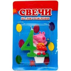 Свеча на торт цифра Свинка Пеппа 4