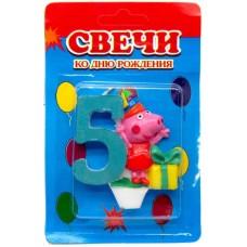 Свеча на торт цифра Свинка Пеппа 5