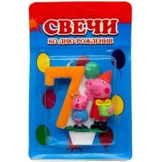 Свеча на торт цифра Свинка Пеппа 7