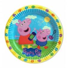 Тарелки одноразовые Свинка Пеппа голубые 10 шт/уп