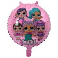 Фольгированный шарик -  Куклы ЛОЛ (LOL), круглый, 45см