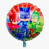 Фольгированный шарик -  Герои в масках (pj masks), круглый, 45см