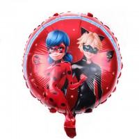 Фольгированный шарик -  Леди Баг, круглый, 45см