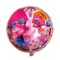 Фольгированный шарик -  Тролли, круглый, 45см